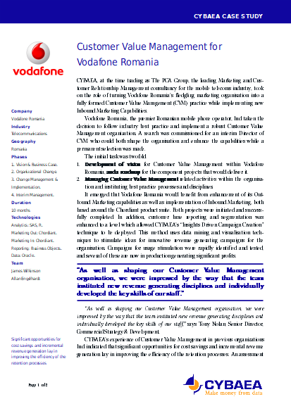[Customer Value Management for Vodafone Romania]
